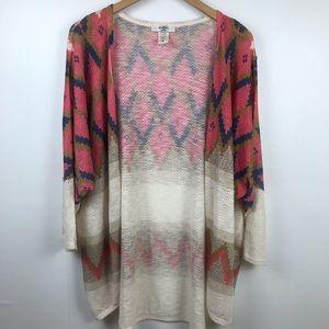 Moa Moa Tribal Print Light Knit Cardigan